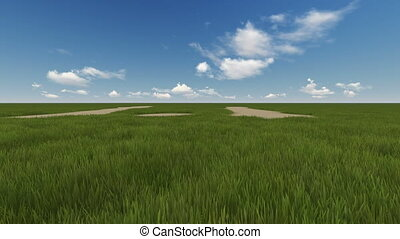 green field and cloudy sky - 3d animation of green field and...