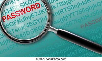 Close up of magnifying glass on Hacking for password...