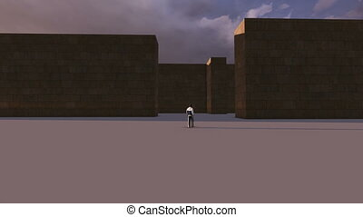 single man walking into a mysterious maze - 3d animation how...