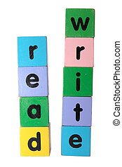 read and write in text on toy blocks - toy letters that...