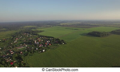 Aerial panorama of Russian countryside