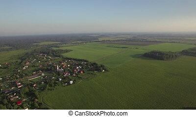 Aerial panorama of Russian countryside - Aerial rural scene....