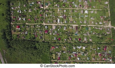 Aerial view of village houses in Russia - Aerial shot of...
