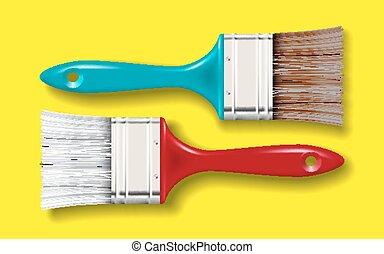 paint bristle brush set - paint bristle brush with color...