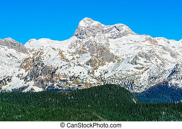 Triglav mountain top on sunny winter afternoon