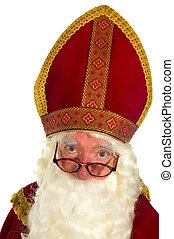 Sinterklaas in portrait with glasses in the studio