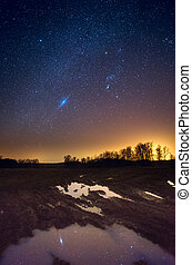 Reflection of stars in a puddle - Starry sky reflecting in...