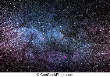 Night time sky with many stars and a part of the Milky Way