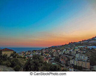 Sunset in San Remo on Italian coast