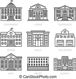 Education and government thin line buildings
