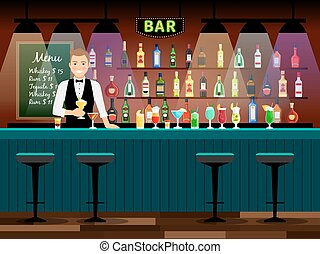 Bar counter with bartender and wine bottles on the shelves....