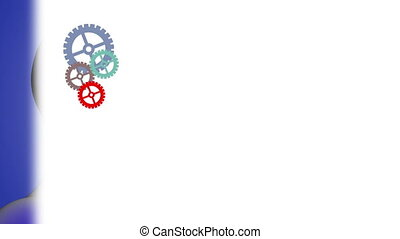 head with rotating gears - 3d animation of head with...