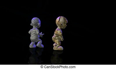 dancing puppets on the wet black floor - 3d animation of...