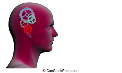 rotating gears inside of the head - 3d animation with...