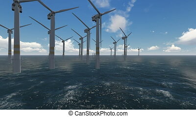 wind turbines working at sea and generating clean energy -...
