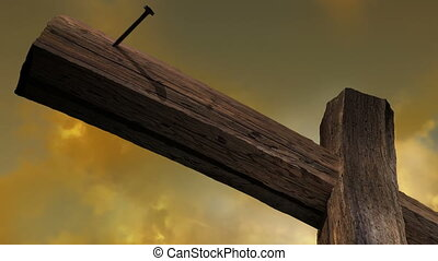 Wooden cross against the sky with clouds - animation-Wooden...