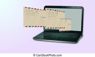sending mail out from a notebook computer - 3d animation of...
