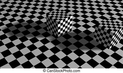 Moving cubes on checkered plane - animation-Moving cubes on...