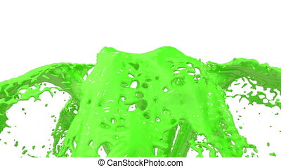 Beautiful fountain green liquid splash, fountain 3d on white background with alpha matte. Many green paint streams rising high. 3d with very high detail. Version 8