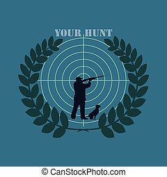 Logo your hunt - Hunter with rifle and dog on the background...