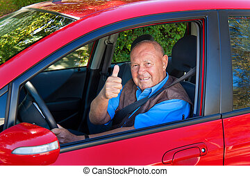 Senior as a car driver in the car. Buckle up seat belt. -...