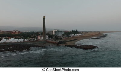 Lighthouse on Gran Canaria coast, aerial - Aerial -...