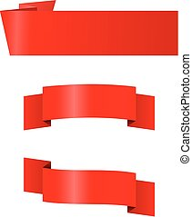 Three red banners - A set of three red banners for title...