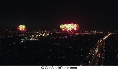 Festive fireworks in night Moscow on Victory Day - Aerial...