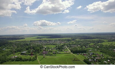 Aerial skyline landscape with village in Russia