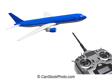 RC plane and radio remote control isolated on white...
