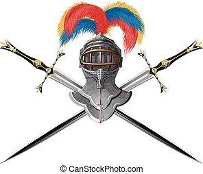 Helmet and crossed swords