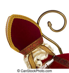 Sinterklaas with head at his back isolated over white