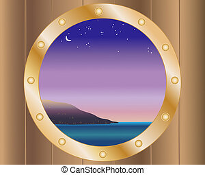 porthole with night sky - an illustration of an island with...