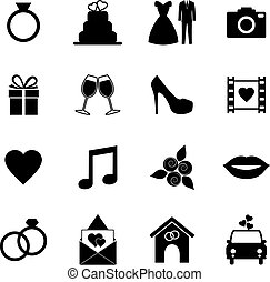 Collection of wedding icons, vector illustration