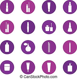 Set of cosmetics icons on color background, vector illustration