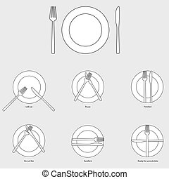 Table etiquette, vector illustration