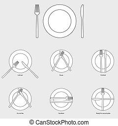 Table etiquette, vector illustration