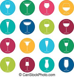 Set of glasses with drinks on color background, vector illustration
