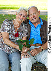 Mature couple in love senior portraits. - Mature couple in...