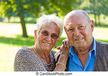 Mature couple in love senior portraits - Mature couple in...