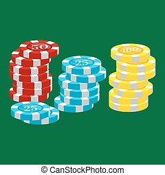 casino poker chip for risk game in vegas, lucky gambling play in betting for chance on winning isolated vector illustration