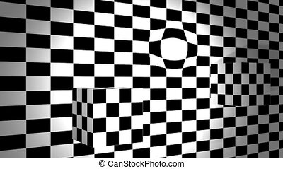 Moving cubes with bulge on checkered plane -...