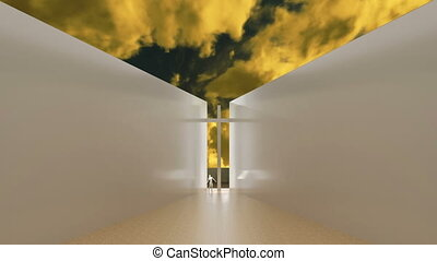 Cross between two white walls end animated yellow sky in...