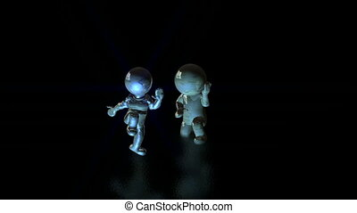 Dancing puppets on the wet black floor - animation-Dancing...