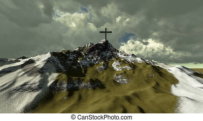 The cross on top of snowy mountain - animation-The cross on...