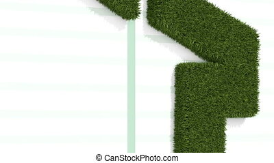 Rising arrow shaped from grass - animation-Rising arrow...