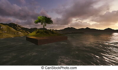 floating land with tree