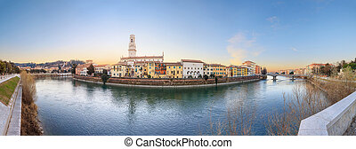 Old Verona town, view on river - historical quarter of...