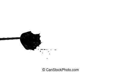 Flow of black paint like oil splattering on white background and dripping down over white. 3d render with alpha mask for background, transition or overlays. Version 2