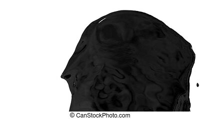 Flow of black paint like oil splattering on white background and dripping down over white. 3d render with alpha mask for background, transition or overlays. Version 6